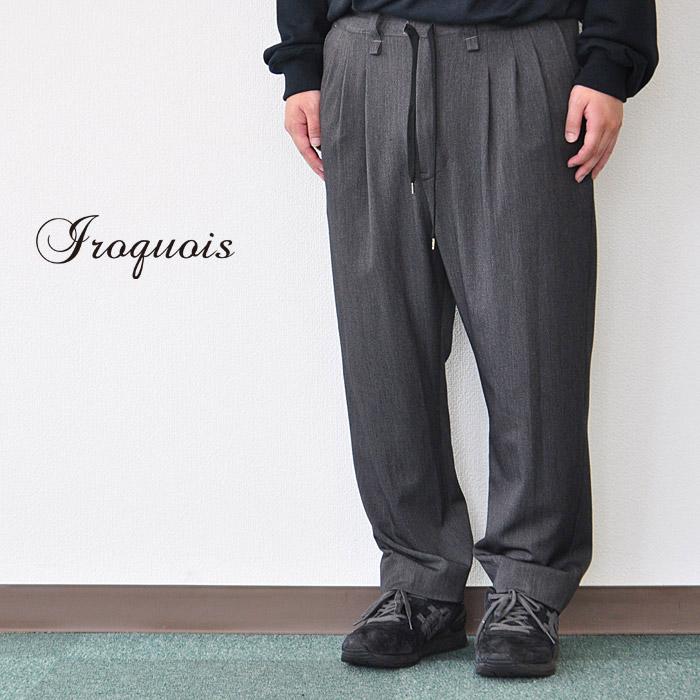 Iroquois イロコイ スラックス スリータック 大きいパンツ TR2WAY ツイルストレッチ パンツ チャコールグレー S-M メンズ 482207