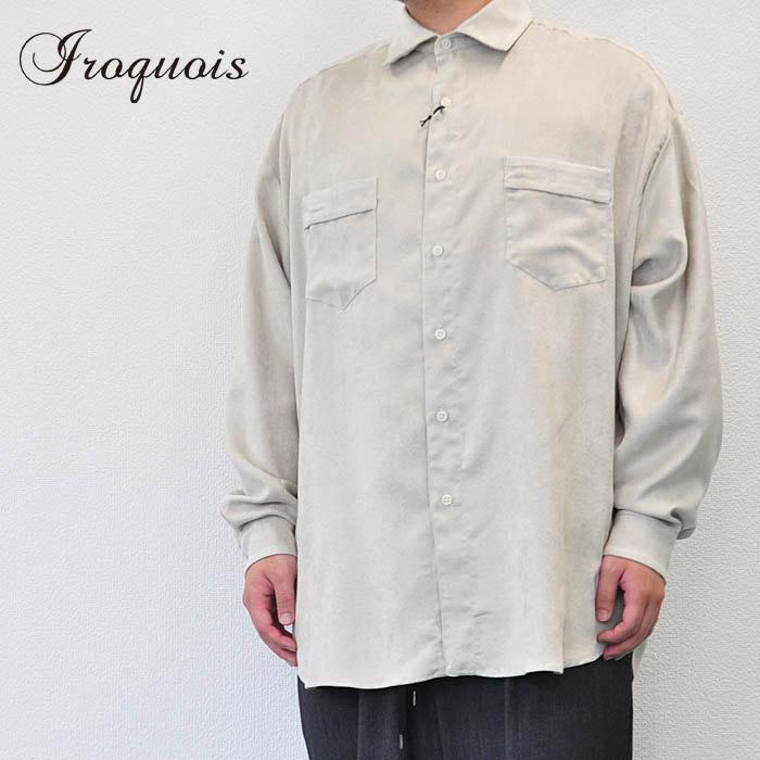 Iroquois イロコイ シャツ E/SUEDE ビッグシルエットシャツ エステルスエード ベージュ S-M シャツ メンズ 382205