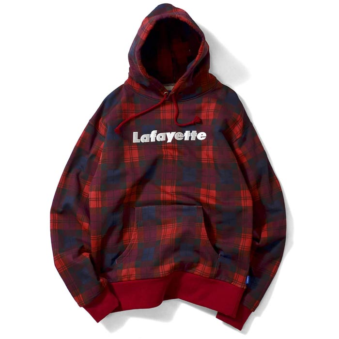 Lafayette ラファイエット パーカー Lafayette LOGO PLAID PULLOVER SWEATSHIRT チェック ロゴ メンズ M-2XL レッド/赤 LFT18AW066 ストリート