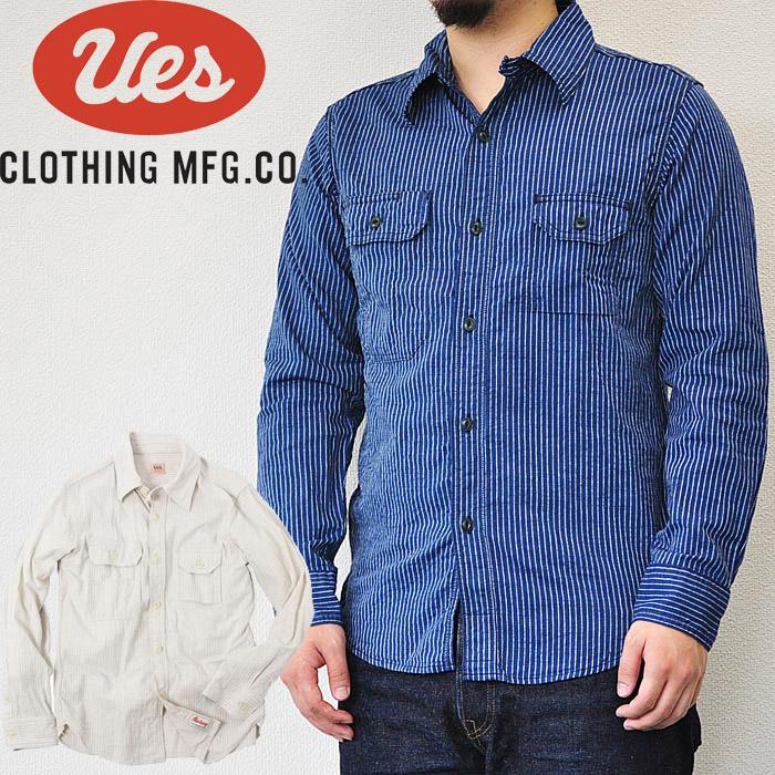 UES ウエス ドビーストライプシャツ インディゴ オフホワイト ネルシャツ メンズ 長袖 501804