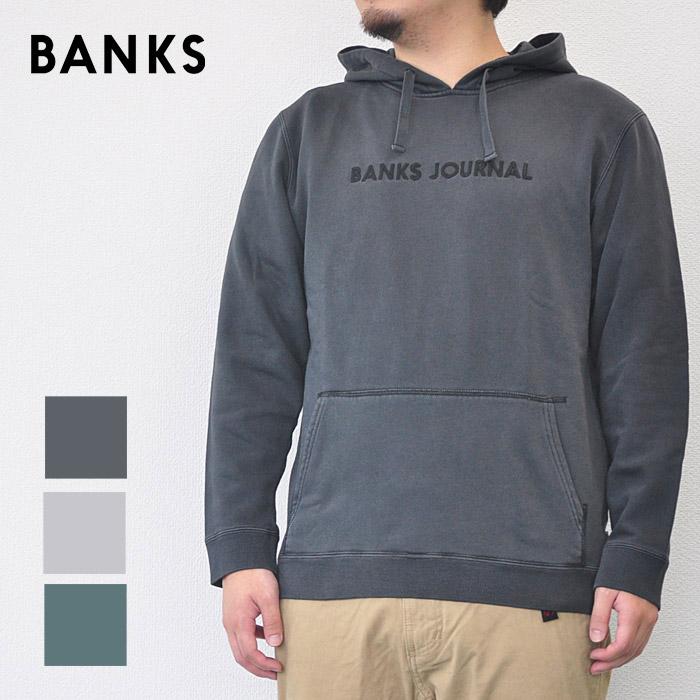 BANKS バンクス パーカー LABEL FLEECE メンズ スウェット サーフ グレー/黒/緑 S-XL AFL0133 レーベルフリース