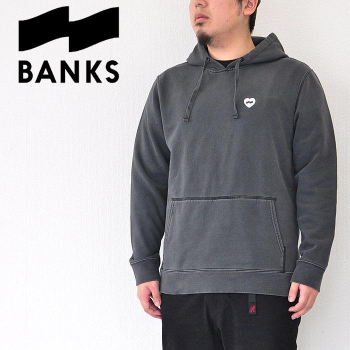 BANKS バンクス パーカー Heart Fleece メンズ 黒 S-L スウェット 刺繍 サーフ AFLSM34