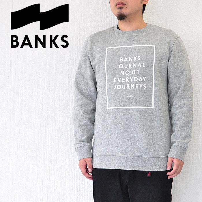 BANKS バンクス スウェット VOLUME FLEECE クルーネック ロゴ メンズ 18秋冬 グレー S-XL AFL0161