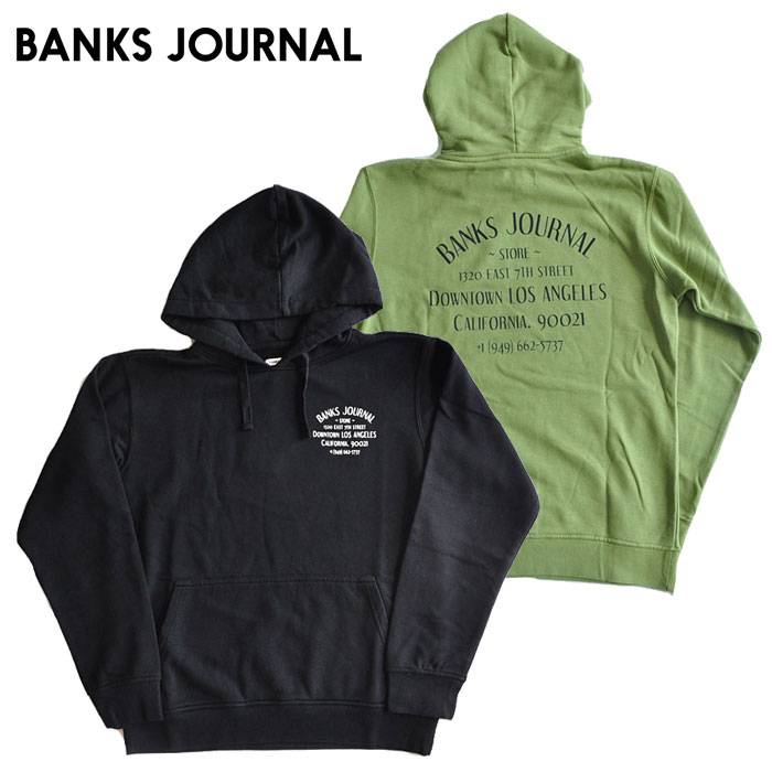 FLEECE 長袖 バンクスジャーナル トレーナー オリーブ スウェット M-XL BANKS DOWNTOWN JOURNAL AFL0265 黒