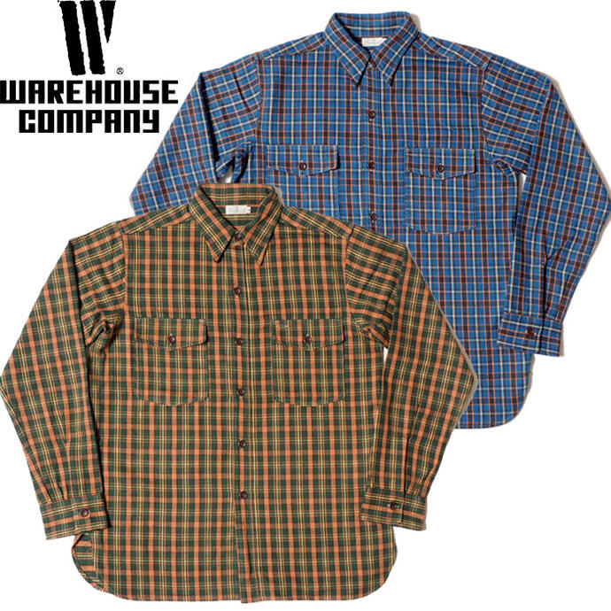 WAREHOUSE ウエアハウス ネルシャツ Lot 3022 FLANNEL SHIRTS WITH CHINSTRAP NON WASH メンズ 長袖 青/緑 M L
