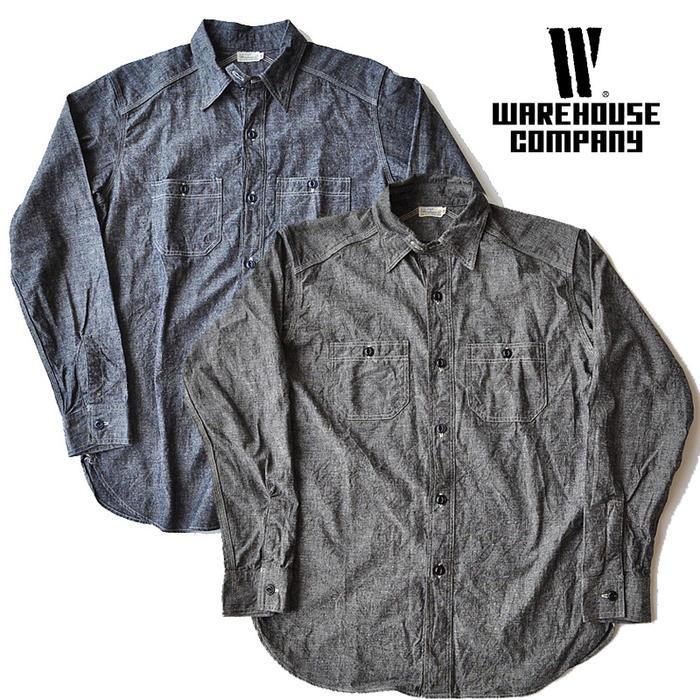 ウエアハウス WAREHOUSE シャツ Lot 3023 CHAMBRAY SHIRTS WITH CHINSTRAP シャンブレーシャツ メンズ 黒/ネイビー 36-42