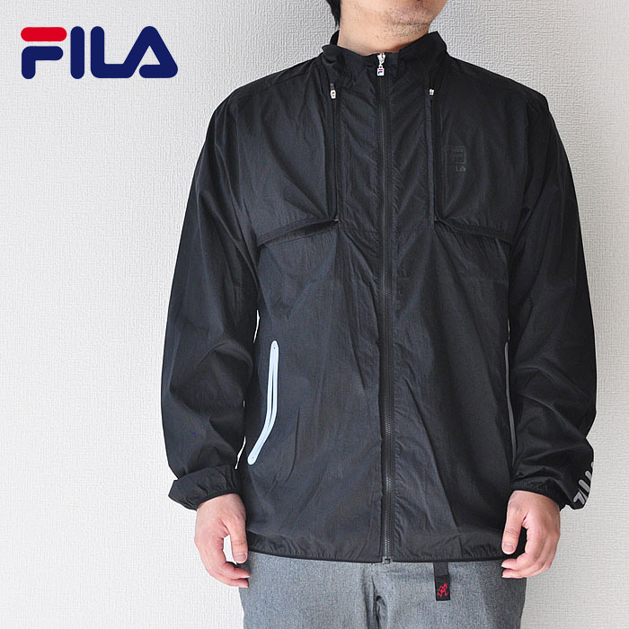 FILA フィラ ヘリテージ ナイロンジャケット WIND-UP FULL ZIP JACKET FM9574 M-XL 黒 ロゴ 2way ストリート系
