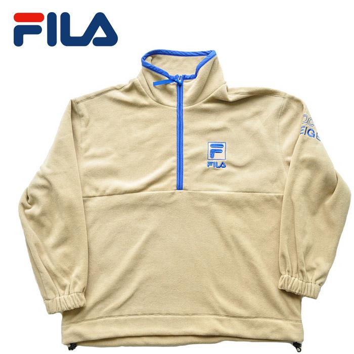 フィラ ヘリテージ FILA フリースジャケット Haif zip jacket FM9678 ベージュ M-XL ロゴ メンズ ストリート スポーツ