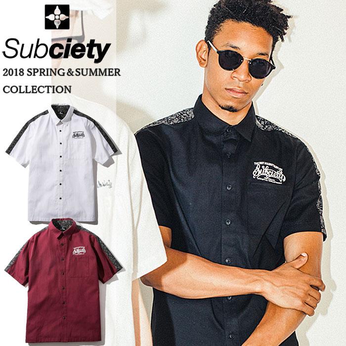 SUBCIETY サブサエティ シャツ WORK SHIRT-BABYLON- 半袖シャツ ワーク メンズ ストリート 黒 サブサエティー
