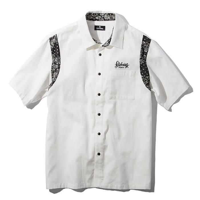 【予約】SUBCIETY サブサエティ シャツ WORK SHIRT-Primal- メンズ ストリート 白/黒 ペイズリー柄 M-XL 108-22364 サブサエティー