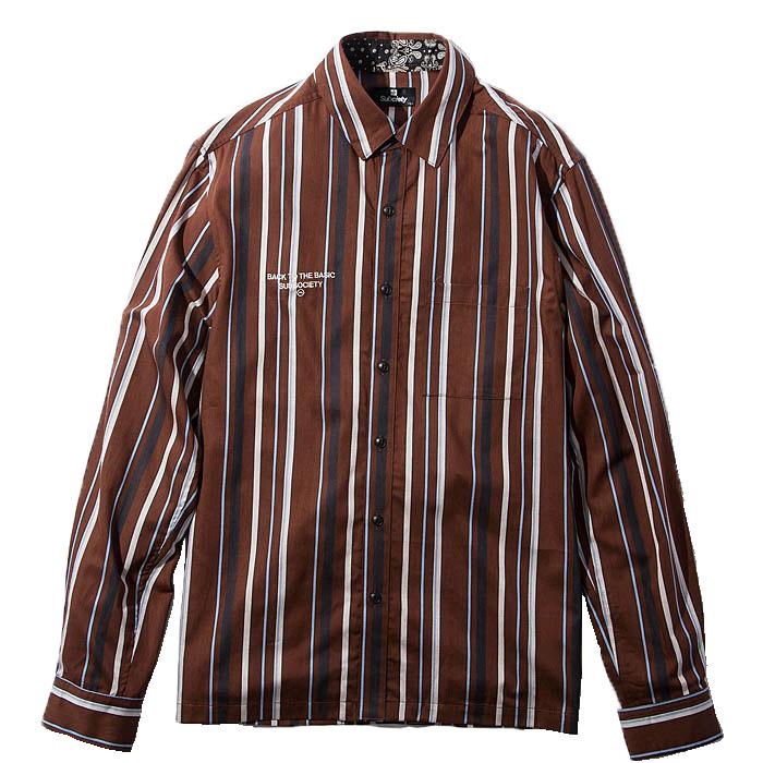 【予約】SUBCIETY サブサエティ シャツ STRIPE SHIRT メンズ ストリート 茶色 L-XL 108-20360 サブサエティー
