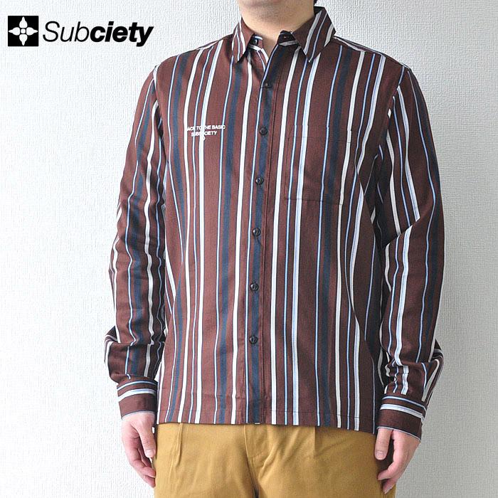 SUBCIETY サブサエティ シャツ STRIPE SHIRT メンズ ストリート 茶色 L-XL 108-20360 サブサエティー