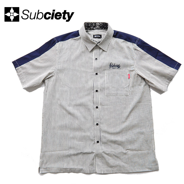 SUBCIETY サブサエティ シャツ STRIPE WORK SHIRT M-XL ヒッコリーストライプ 半袖 メンズ ストリート系 109-22397 サブサエティー