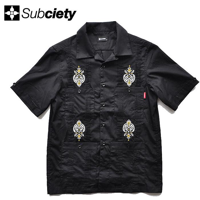 SUBCIETY サブサエティ シャツ CUBA SHIRT キューバシャツ M-XL 黒 開襟シャツ 半袖 メンズ ストリート系 109-22393 サブサエティー