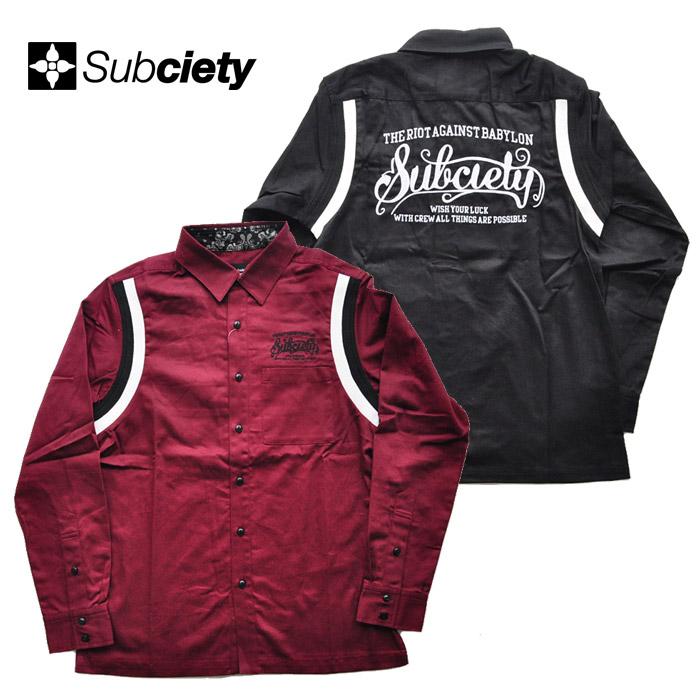 SUBCIETY サブサエティ シャツ WORK SHIRT-BABYLON- 黒 バーガンディー M-XL メンズ ストリート系 サブサエティー