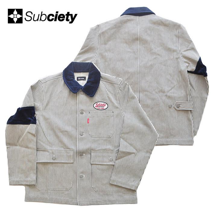 サブサエティ JACKET ストリート系 ストライプ SUBCIETY メンズ ジャケット M-XL WORK 101-60437 BDU