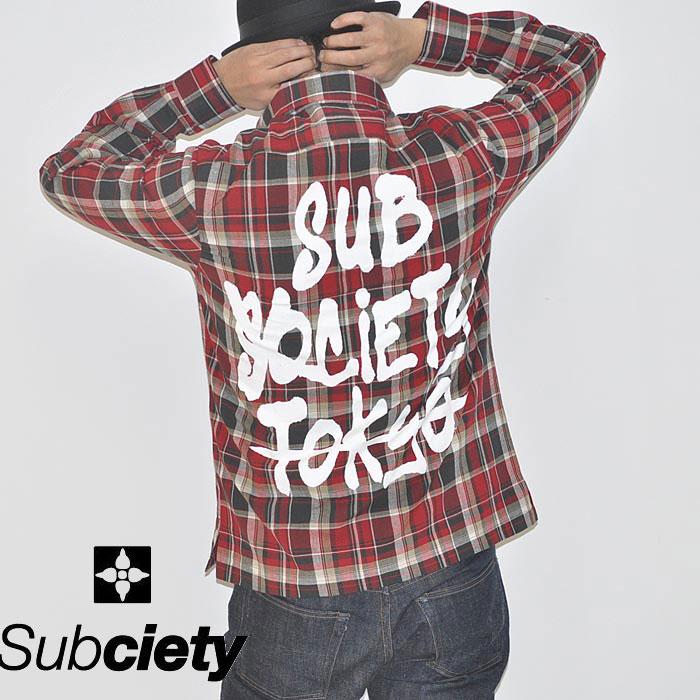 シャツ -TAG- CHECK サブサエティ SUBCIETY M-XL 長袖 赤 サブサエティー SHIRT ストリート