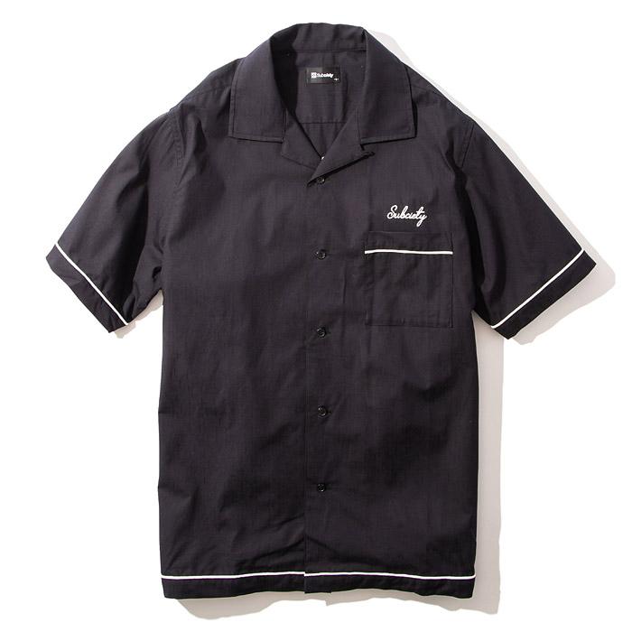 シャツ SHIRT サブサエティー 黒 BOWLING 103-22538 サブサエティ SUBCIETY M-L ストリート