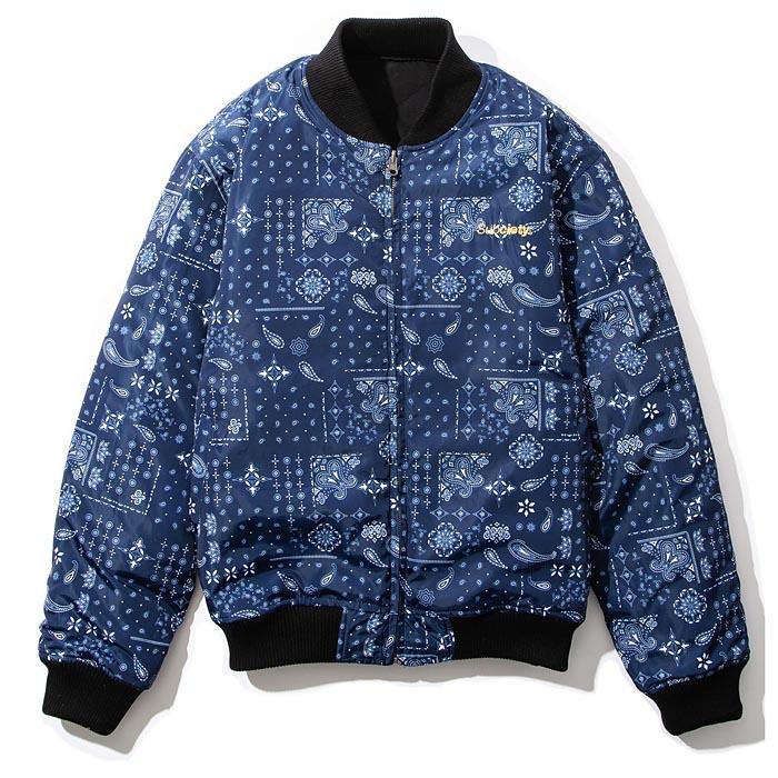 【予約】 SUBCIETY サブサエティ ジャケット BANDANA QUITING JKT 黒 ネイビー リバーシブル M-XL 104-62578 サブサエティー ストリート