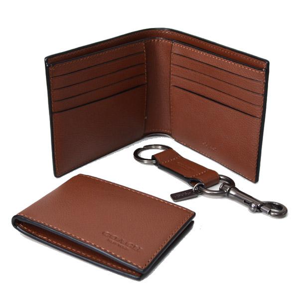 9a8dcc460691 コーチのレザーコンパクト財布とカードケース(定期入れ)、キーホルダーの豪華3点 セットを箱付でお届けします!本場アメリカで直入荷した日本未発売ギフトセット!