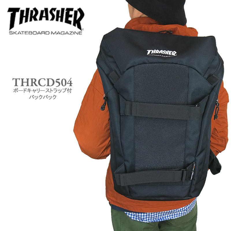 【ポイント10倍!】THRASHER スラッシャー THRCD504 ボードキャリーストラップ付き マグロゴ バックパック リュック