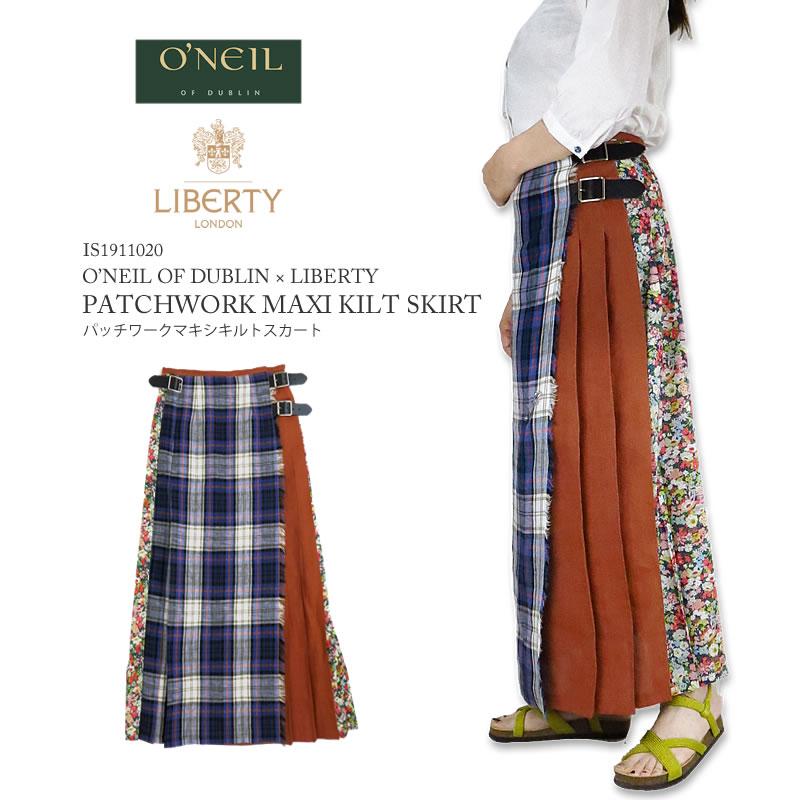 Oneil Of Dublin X Liberty Oneil Of Dublin Liberty Patchwork Maxi Kilt Skirt Patchwork Maxi Kilt Long Quilting Tartan Check Floral Design Wrap Skirt