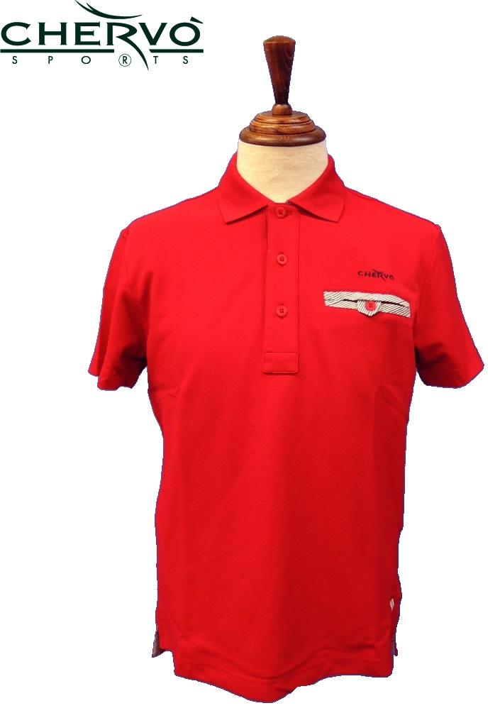 【2014年春夏】シェルボ(CHERVO) 031-28443 半袖ポロシャツ  レッド  S