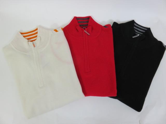【カステルバジャック】【CASTELBAJAC】 メンズ ハーフジップニットシャツ 23780-131 01:ホワイト 80:レッド 99:ブラック 46/48サイズ