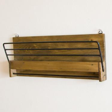 With Newspaper Rack News Paper Dispenser Letter Magazine Wall Pocket Shelf Hangings Holder Surface Storing Wooden Iron
