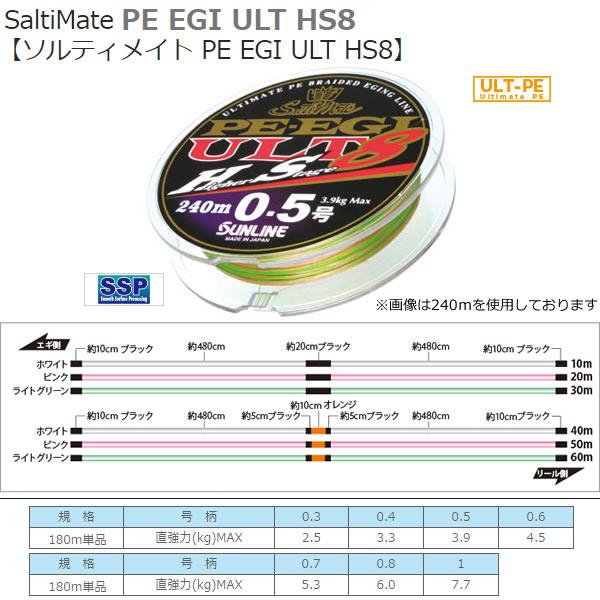 サンライン PEエギULT HS8 180m (エギングライン) 0.5号