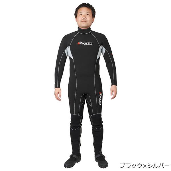 リアス Rearth ウエットスーツ ブラック/シルバー FWS-3400 (ウェットスーツ)