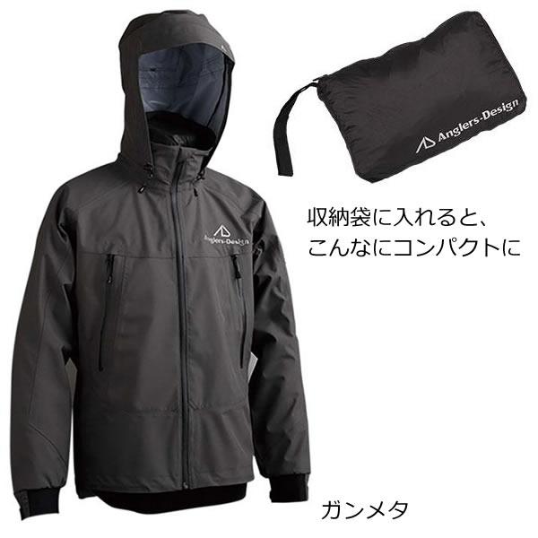 アングラーズデザイン モバイルレインジャケット ADR-11 ガンメタ M~3L (レインウェア レインスーツ)