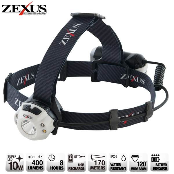 冨士灯器 ZEXUS(ゼクサス) LEDライト 充電式 ZX-R350 (ヘッドライト)