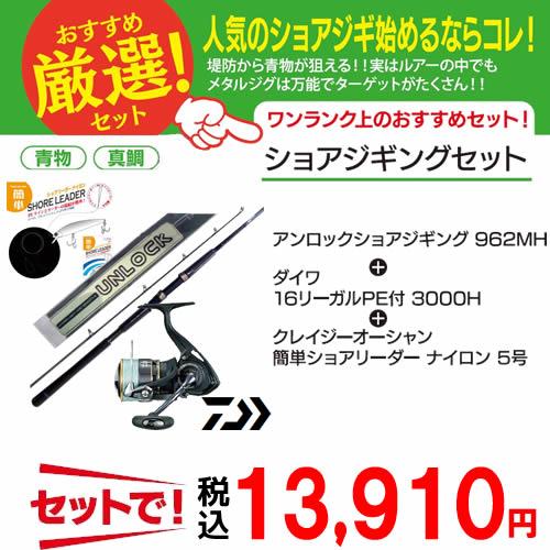 アンロック ショアジギング ダイワ PE付リール リーダー ショアジギング入門 3点セット (大型商品A)