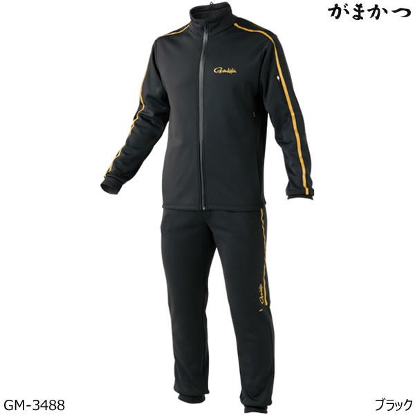 がまかつ ホットメルトスムースジャージスーツ GM-3488 ブラック S~5L (釣り 防寒着)