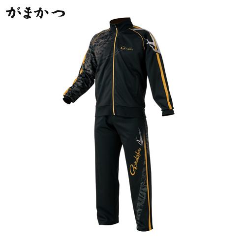 がまかつ ジャージスーツ (昇華プリント) GM-3489 ブラックxゴールド (防寒着 釣り フィッシングウェア)
