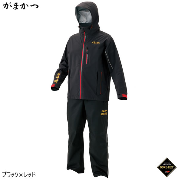 がまかつ ゴアテックス レインスーツ(C-Knit) GM-3484 ブラック/レッド (レインウェア 釣り)