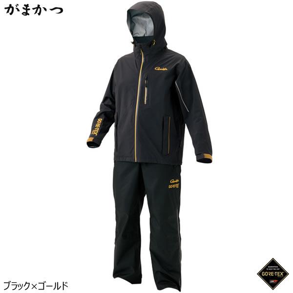 がまかつ ゴアテックス レインスーツ(C-Knit) GM-3484 ブラック/ゴールド (レインウェア 釣り)