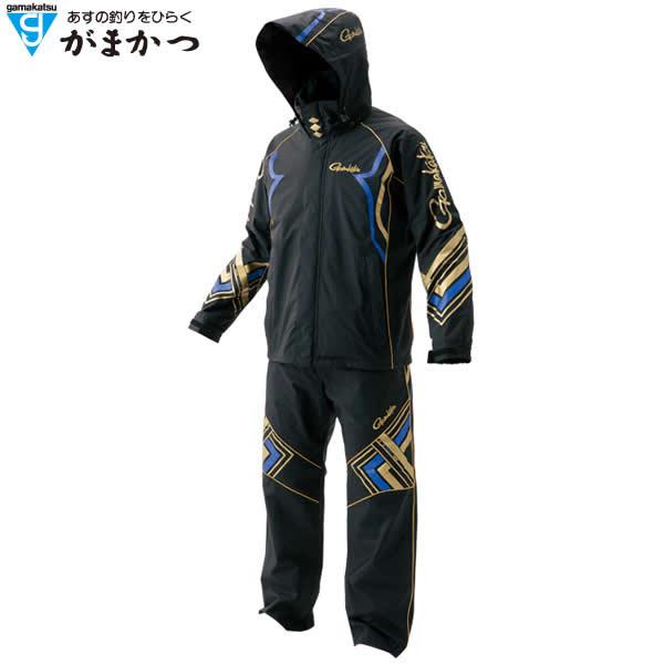 がまかつ フィッシングレインスーツ(KABUKI-超耐久撥水仕様) GM-3496 ブラック/ブルー (レインウェア 釣り)