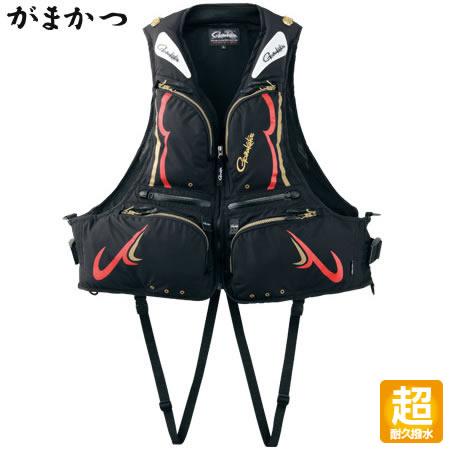 がまかつ フローティングベスト (KABUKI-超耐久撥水仕様) GM-2178 ブラック/レッド (ライフジャケット)