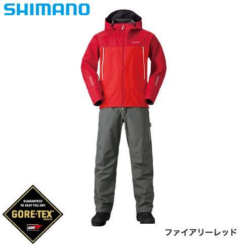 シマノ ゴアテックス ベーシックスーツ RA-017R ファイアリーレッド S~XL (レインウェア レインスーツ)