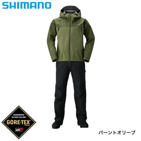 シマノ ゴアテックス ベーシックスーツ RA-017R バーントオリーブ M~XL (レインウェア レインスーツ)