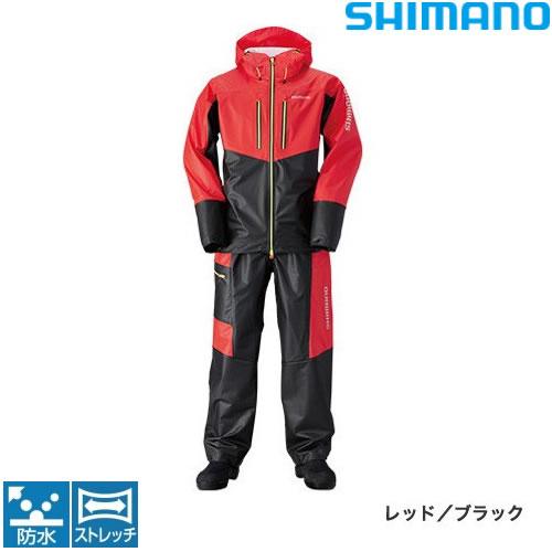 シマノ マリンライトスーツ RA-034N レッド/ブラック M~XL (レインウェア)