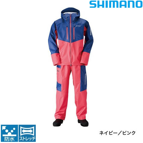 シマノ マリンライトスーツ RA-034N ネイビー/ピンク M~XL (レインウェア)
