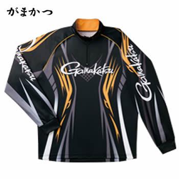 がまかつ 2WAYプリントジップシャツ(長袖) GM-3503 ブラック×ゴールド(吸汗速乾 フィッシングシャツ)