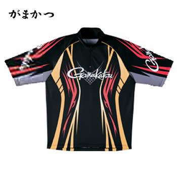 がまかつ 2WAYプリントジップシャツ(半袖) GM-3504 ブラック×レッド (吸汗速乾 フィッシングシャツ)