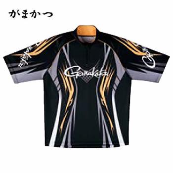 がまかつ 2WAYプリントジップシャツ(半袖) GM-3504 ブラック×ゴールド (吸汗速乾 フィッシングシャツ)