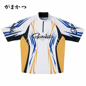 がまかつ 2WAYプリントジップシャツ(半袖) GM-3504 ホワイト (吸汗速乾 フィッシングシャツ)