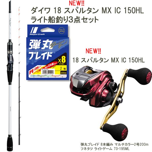ダイワ新製品で楽しむ船釣り3点セット 18 スパルタン MX IC 150HL アルファタックル船竿 日本製PEライン セット (左ハンドル 船釣りセット)