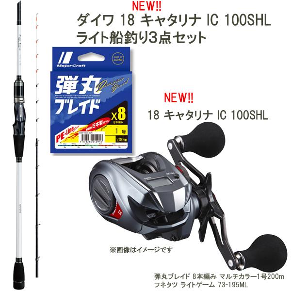 ダイワ新製品で楽しむ船釣り3点セット 18 キャタリナ IC 100SHL アルファタックル船竿 日本製PEライン セット (左ハンドル 船釣りセット)